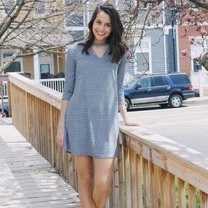 Socialite 3/4 sleeve striped t-shirt dress